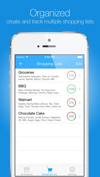 Groceries - Smart Shopping List - create, edit and share your grocery lists and recipes