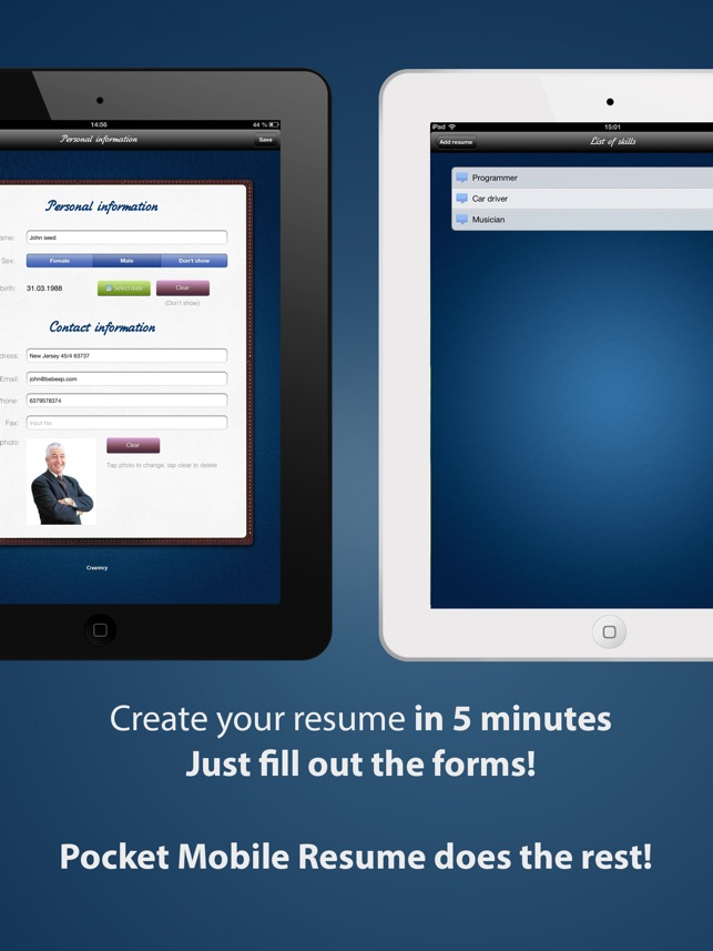 App Store Pocket Mobile Resume PRO