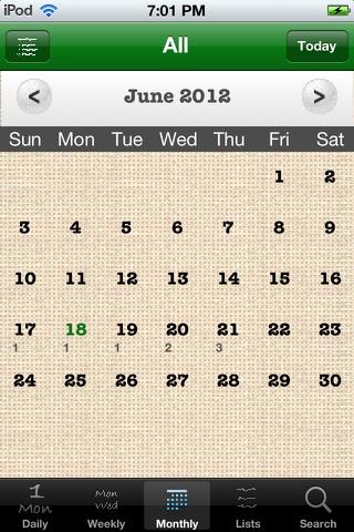 Screenshot of Daily Tasks (To Dos)