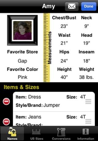 Sizes2GO app image