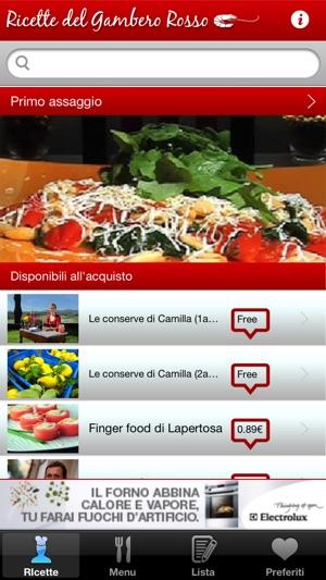 Ricette del gambero rosso su app store for Ricette gambero rosso
