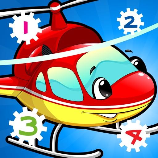 市の自動車について子供の年齢2-5のための123のゲーム: カウントを学ぶ 数字カー、レースカー、バス、トラック、飛行機、通りに1月10日。幼稚園、保育園や保育所のために