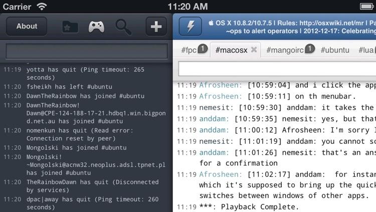 Mango IRC - Chat client screenshot-3