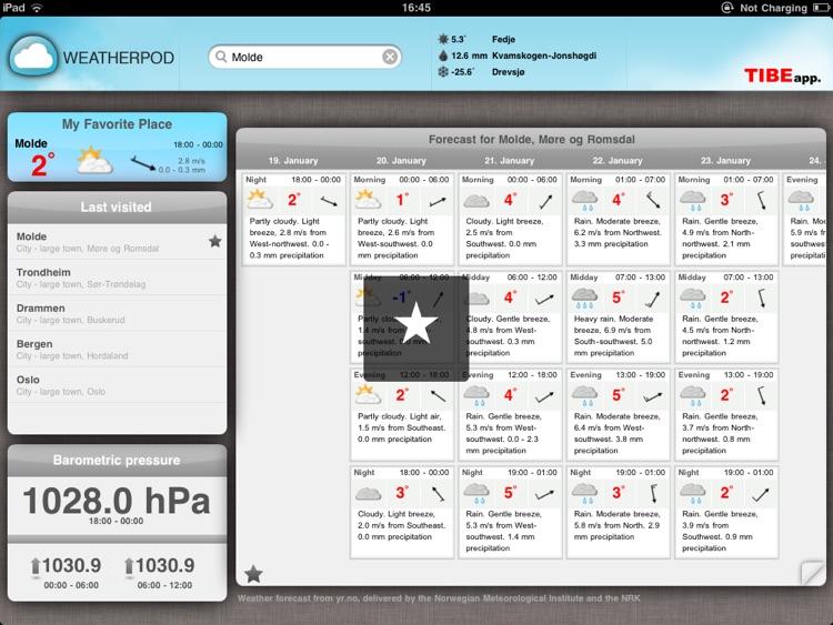 WeatherPod - Værstasjon for iPad screenshot-3