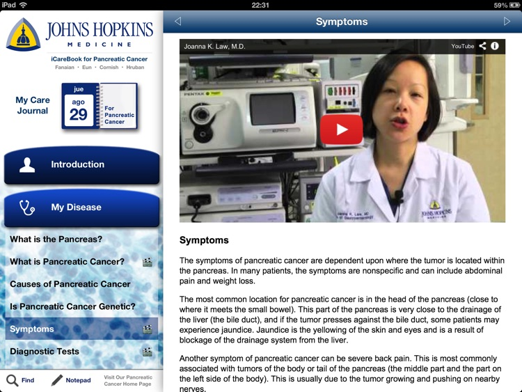 The Johns Hopkins iCarebook for Pancreatic Cancer HD screenshot-3