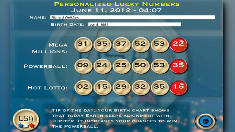 Lotto Lucky Numbers - USA by Thaily Cristina Rodrigues Caceffo