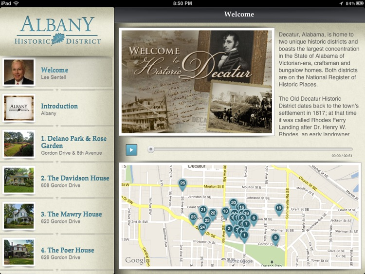 Albany Historic Walking Tour for iPad - City of Decatur, AL