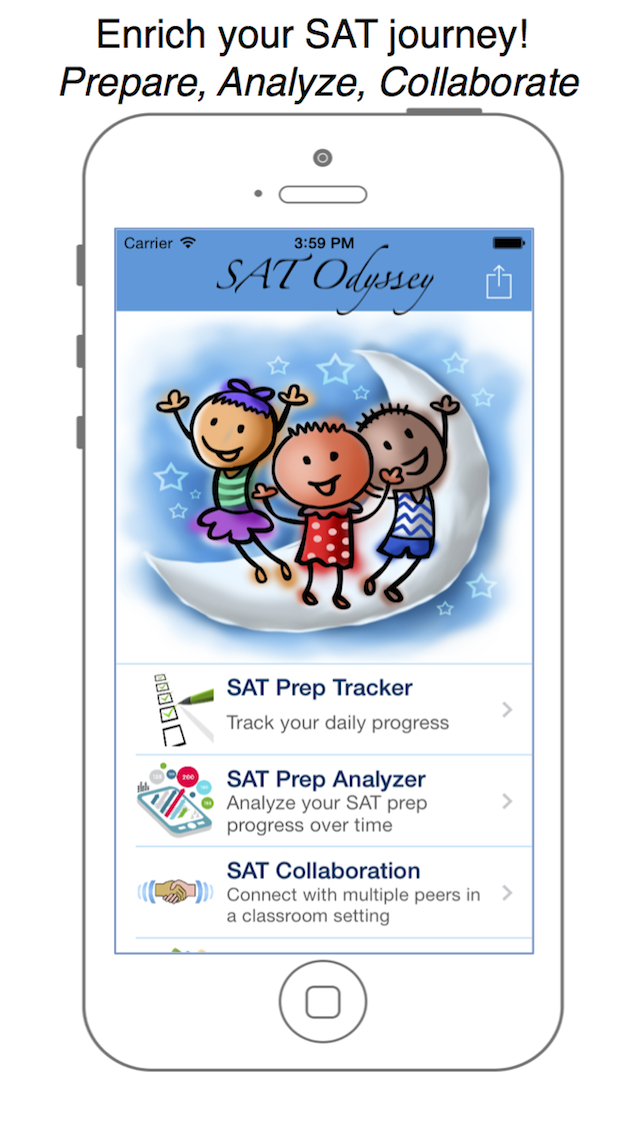 SAT Resource - Ace the SAT through study reminder, prep tracker and a pre packaged set of math, vocab, English, reading and essay topics! Screenshot on iOS