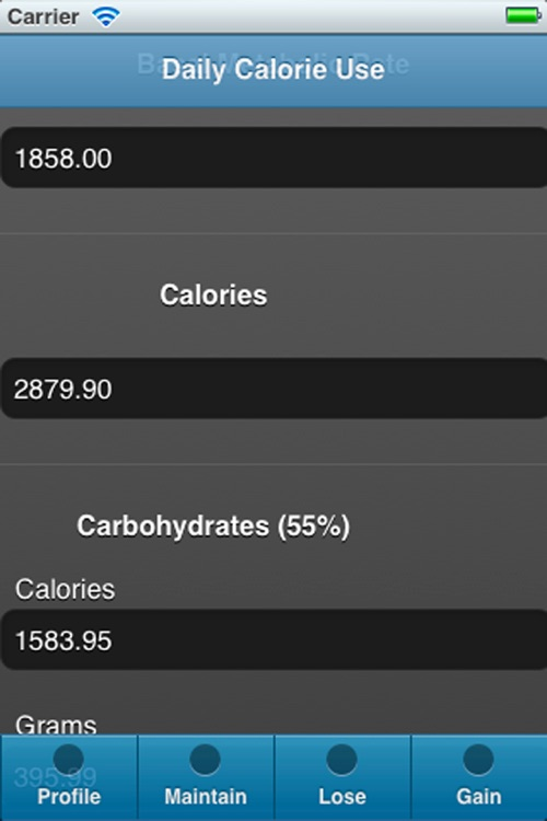 Calory Use - Recommended calories, carbohydrates, proteins and fats intake to loose, maintain or gain weight