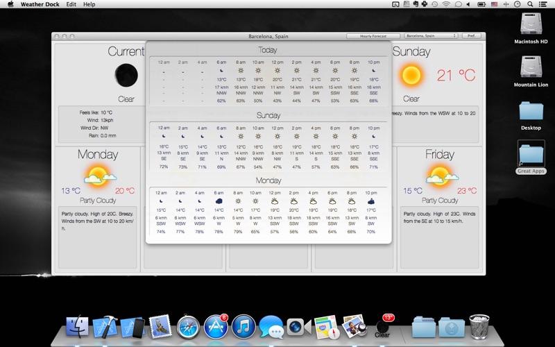 Väder Dock+ Väderprognos på PC