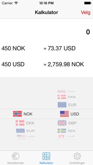 euro kurs nok kalkulator