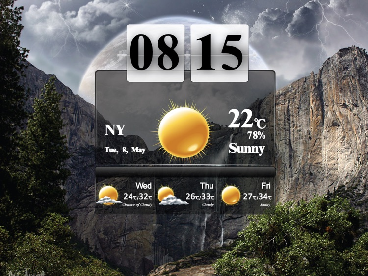 Art Weather With Clock HD screenshot-3