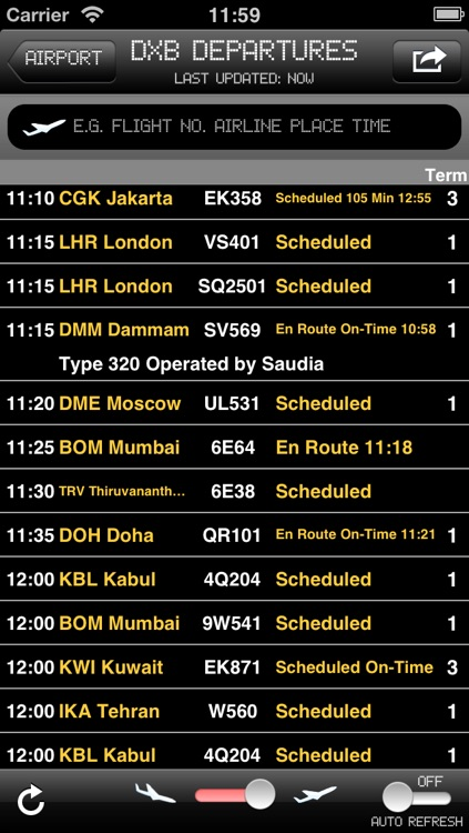 Emirates Airport - iPlane2 Flight Information