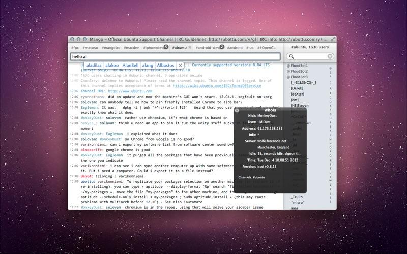 Mango IRC - Chat client скриншот программы 1