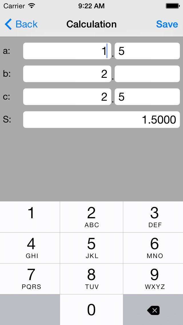 三辺で面積計算(ヘロンの公式)Triang... screenshot1