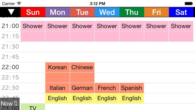 Week Table 15min - Weekly Schedule Timetable / scheduler / planner
