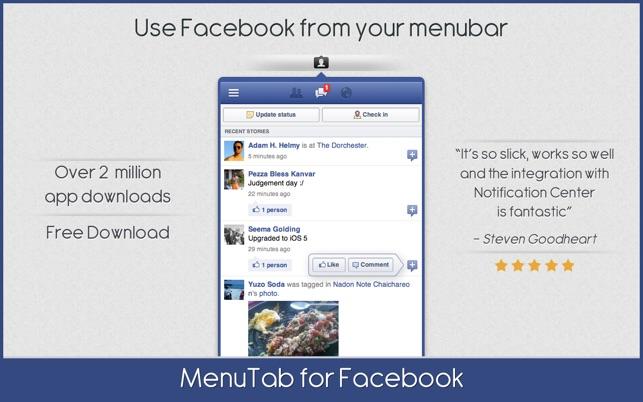 MenuTab for Facebook on the Mac App Store