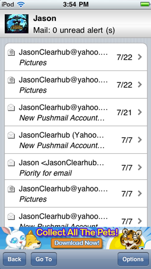 Windows Live Hotmail PUSH emails for iPhone & iPad Screenshot