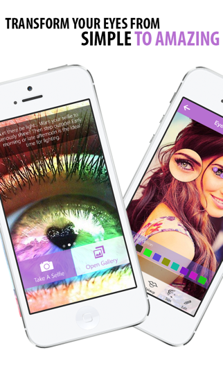 Selfie Eye Colour and Face Makeover - Change your color or add galaxy, wild cat and rainbow contact lenses then add lashes, liner and eyebrows screenshot