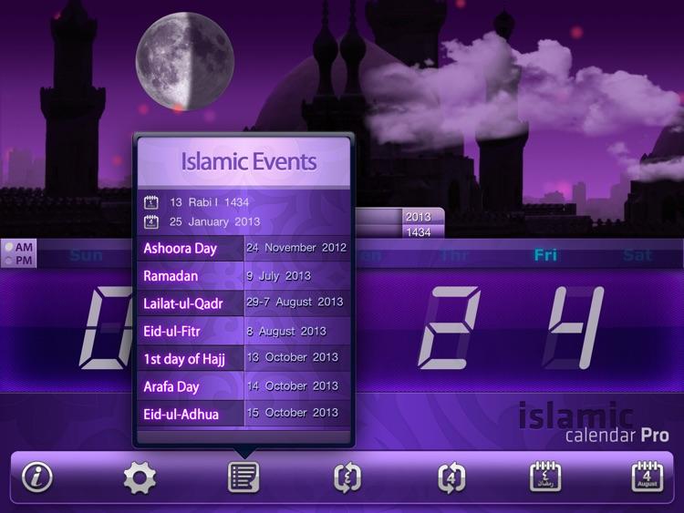 Islamic Calendar Pro For iPad - التقويم الإسلامي المطور للآيباد screenshot-3