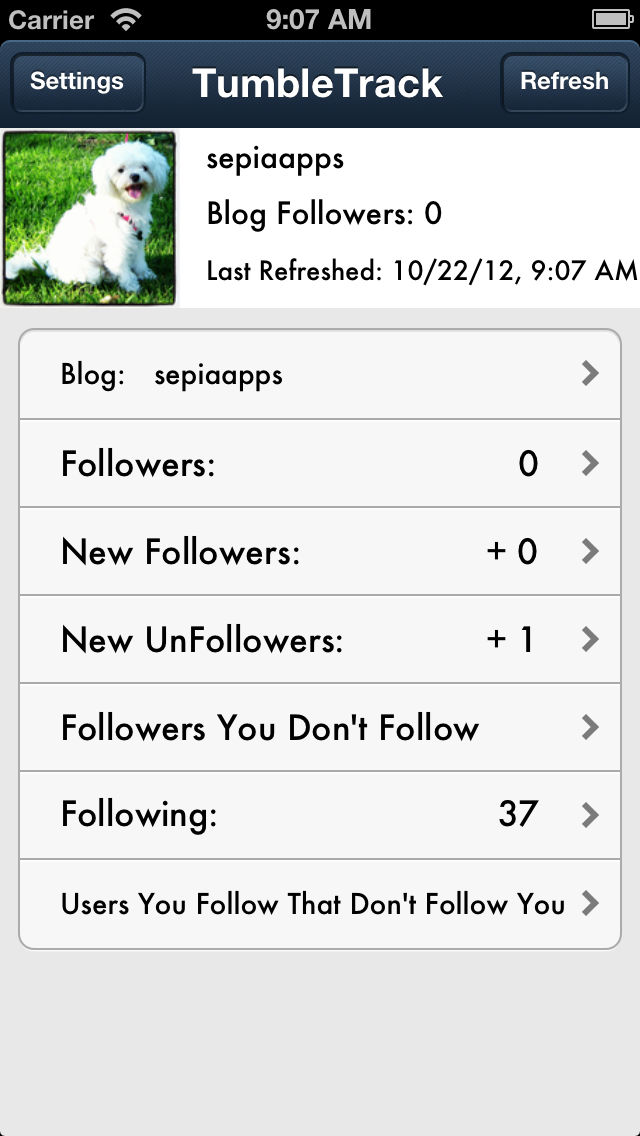 TumbleTrack Followers on Tumblr Lite - Track UnFollowers and View Quotes or Pictures Screenshot