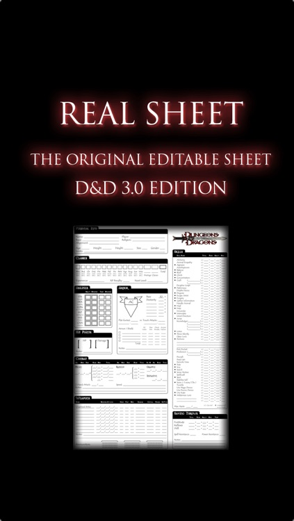 Real Sheet: D&D 3.0 Edition + Dice Table