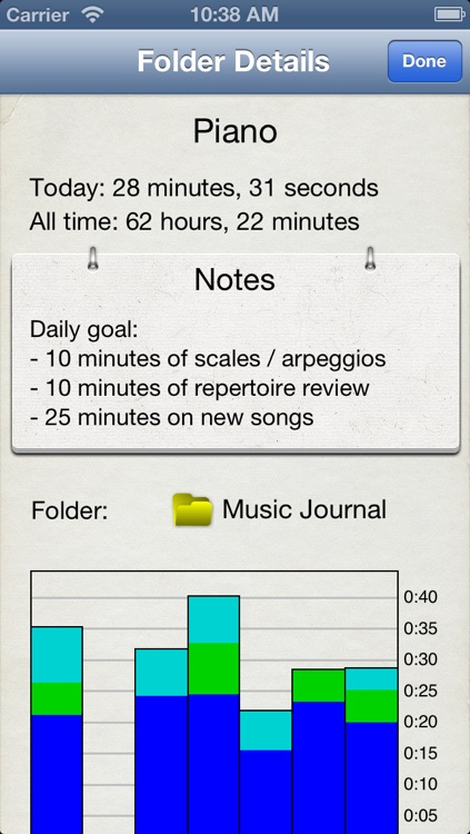 Music Journal Pro - Practice + metronome app to log time and bpm