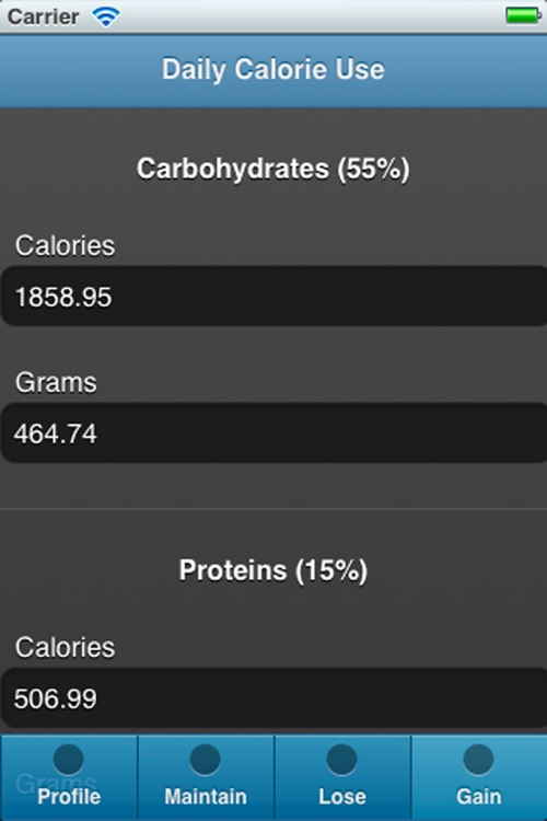 Calory Use - Recommended calories, carbohydrates, proteins and fats intake to loose, maintain or gain weight screenshot-4