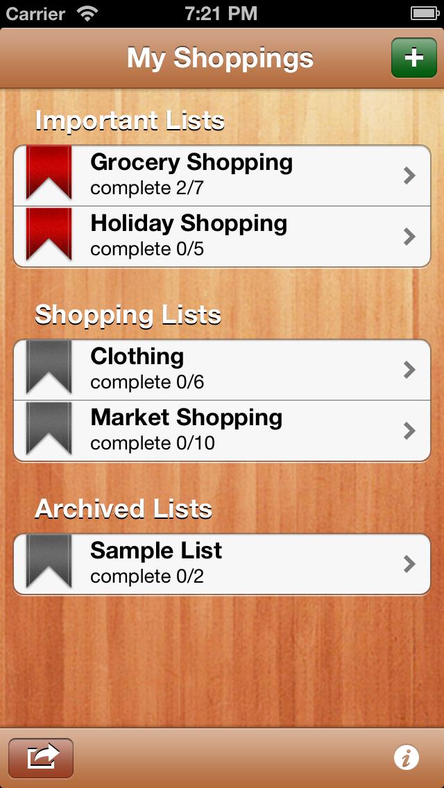 My Shopping Lists Free screenshot one