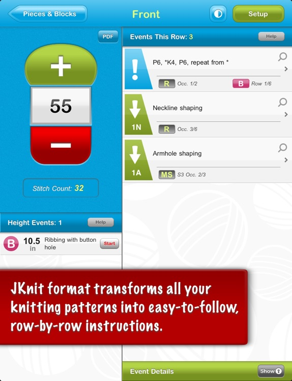 JKnit HD Lite - Knitting Pattern Reader for iPad screenshot-3