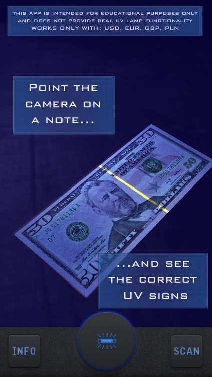 UV Lamp Simulator - Counterfeit Money Check - Bills Secret Security Prank Tool