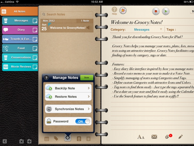 Groovy Notes for iPad - Organizer, Journal & Diary screenshot-3
