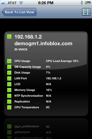 Screenshot of Infoblox iGrid