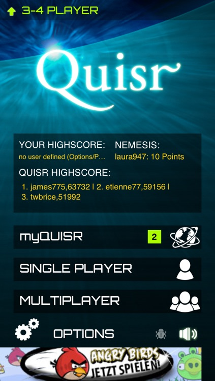 Quisr | 1-2 Player Quiz