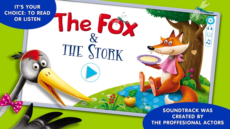 Fairy tales for children: Fox and Stork.
