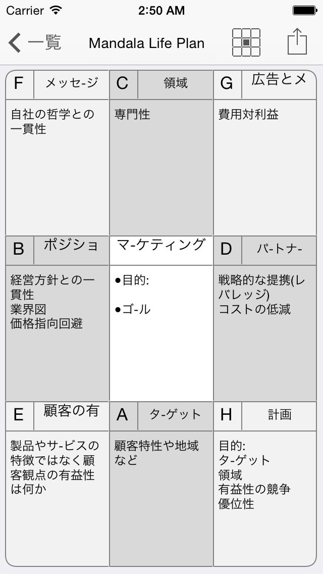 マンダラチャートのスクリーンショット2