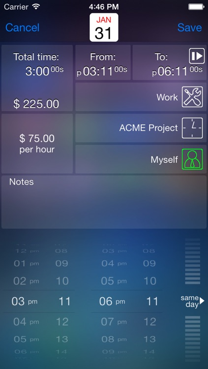 Time tracker - Live time Gold - timesheet