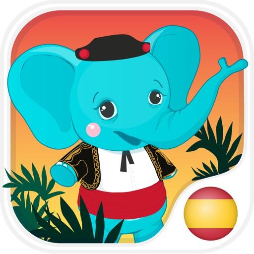 西班牙的孩子與本尼。顏色和數字,問候和家庭,食物,水果,動物和記憶單詞免費的讀音:通過識字學習西班牙語