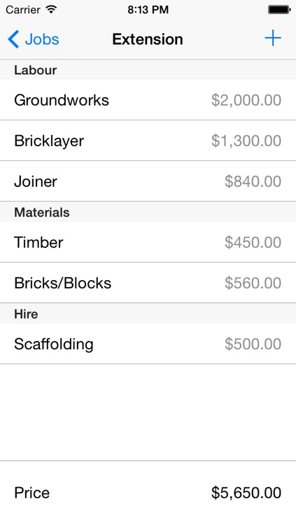 Construction Job Pricing