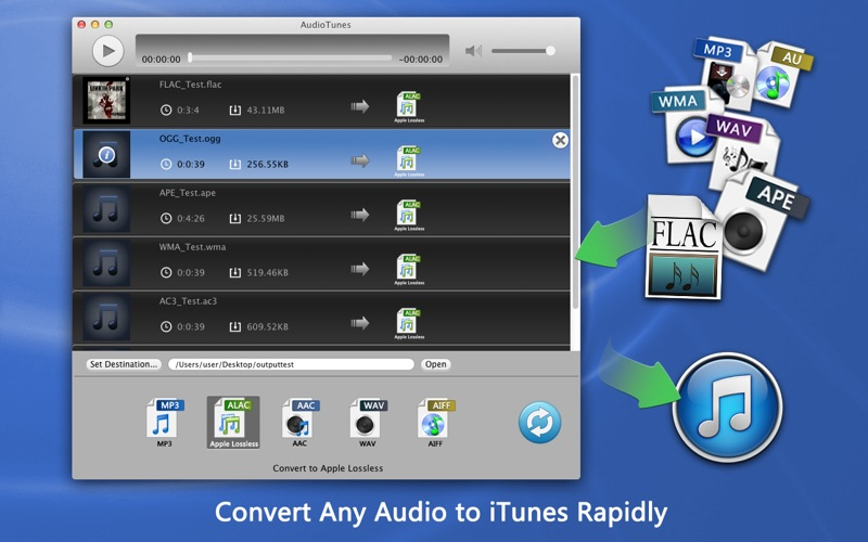 AudioTunes - FLAC APE WMA Converter Screenshot