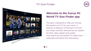CurrysPCWorld TV Size Finder screenshot one