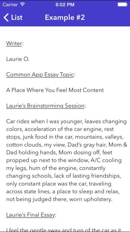 College Essay Brainstorm