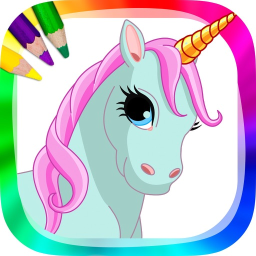Unicorns and ponies - drawings to paint and coloring book