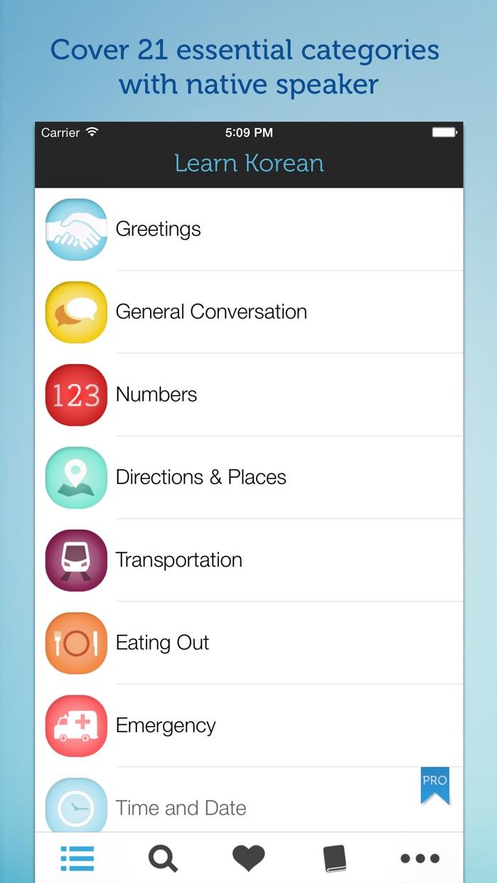 Learn Korean - Phrasebook for Travel in Korea, Seoul, Busan, Incheon Screenshot