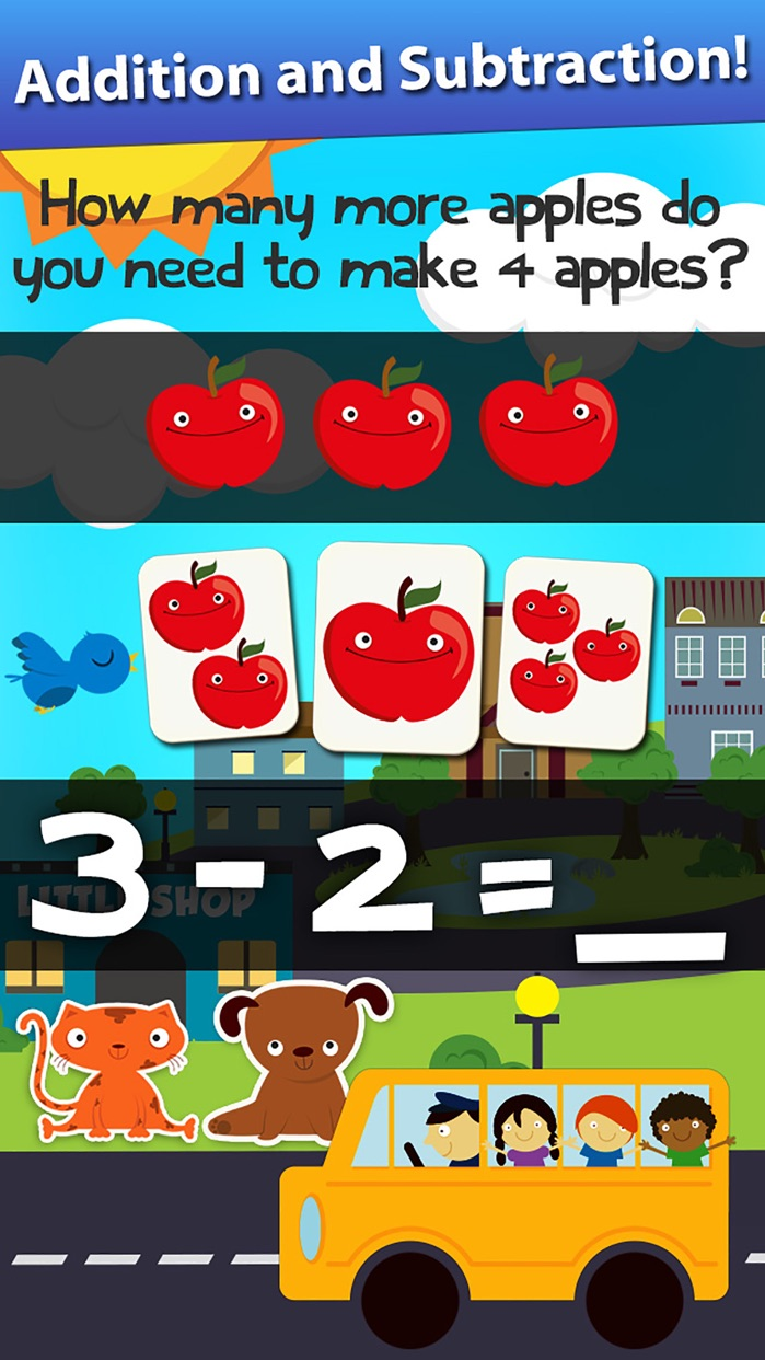 Animal Math Games for Kids in Pre-K, Kindergarten and 1st Grade Learning Numbers, Counting, Addition and Subtraction Free Screenshot
