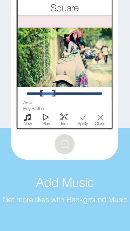 Sqaure Fit for Instasize - Get more likes by adding music and comments to your Bestme Photos