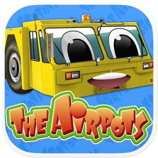 飛行機や空港で働く車達が主人公の楽しい仲間達がたくさん出て来るゲームとマンガ、キャラクターカード集めアプリ「エアポッツ」