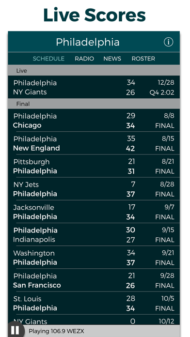 Philadelphia Football Radio & Live Scores screenshot two