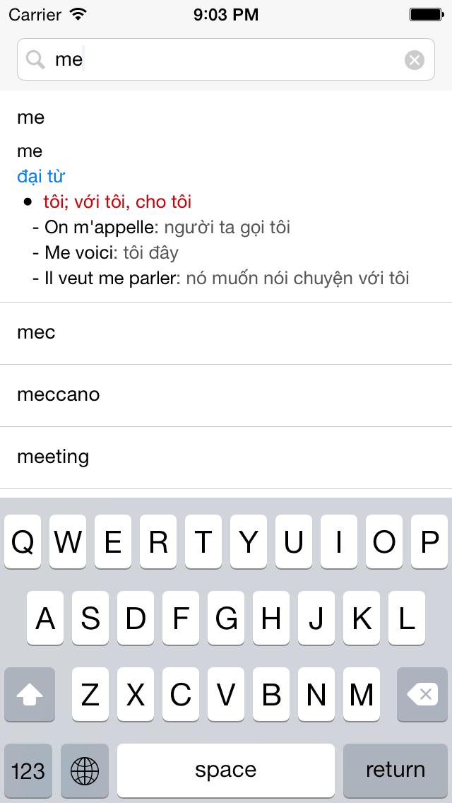 Từ điển Pháp Việt, Việt Pháp, Pháp Anh, Anh Pháp - French Vietnamese English Dictionary screenshot two