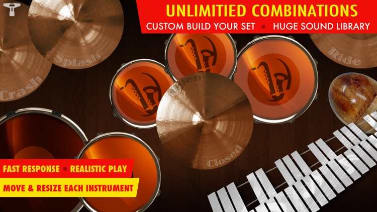 Drums XD FREE - Studio Quality Percussion Custom Built By You! - iPhone Version screenshot-0